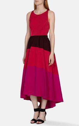 Taffeta stripe maxi dress