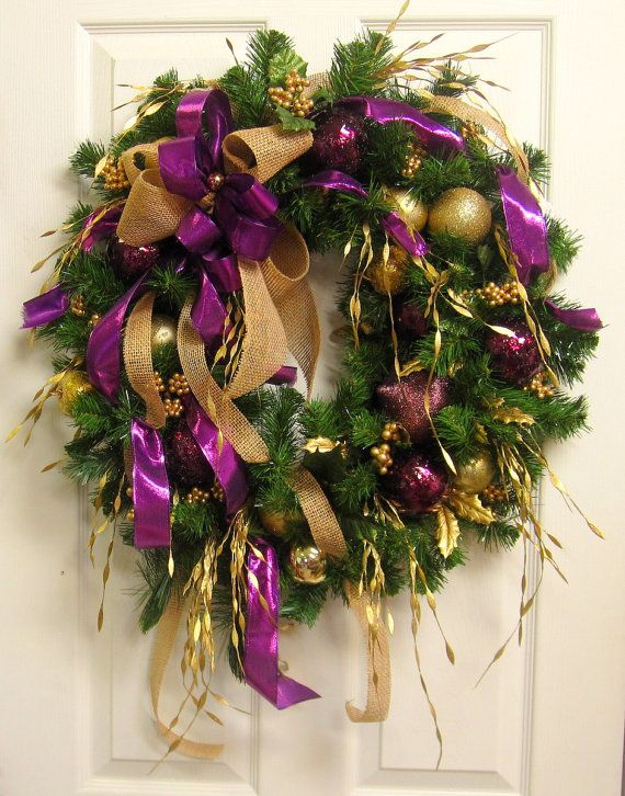 Plum Purple and Gold CHRISTMAS WREATH, Handmade Ornament Wreath, Elegant HOLIDAY Door Wreath