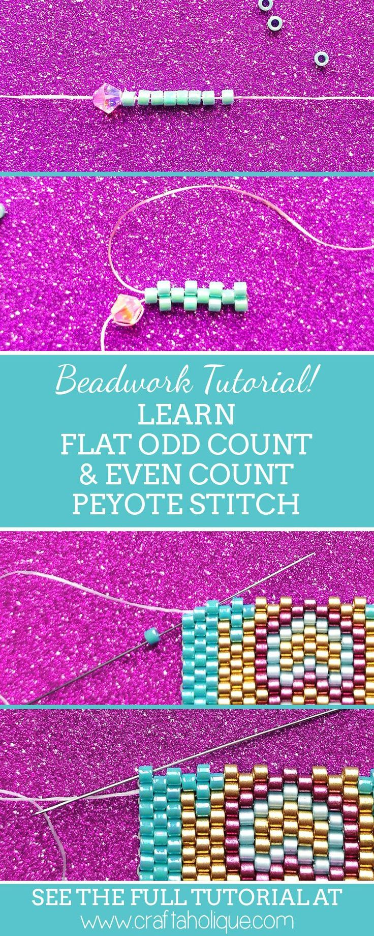 Learn flat even count and flat odd count peyote stitch in this beadwork tutorial from Craftaholique. Make peyote stitch bracelets, rings, earrings and more!