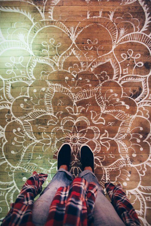 """painted """"rug"""" floor"""