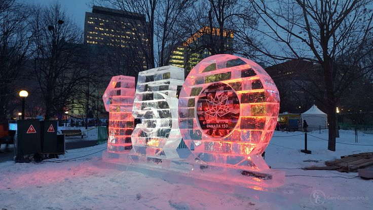 """Canada's 150th anniversary of Confederation"" - This is a mobile phone photo I took of the, newly today unveiled, Canada's 150th ice sculpture in Confederation Park, Ottawa, ON, CAN. Today is the first day of Winterlude 2017 falling on Canada's 150th birthday year. Will be a fun year!"
