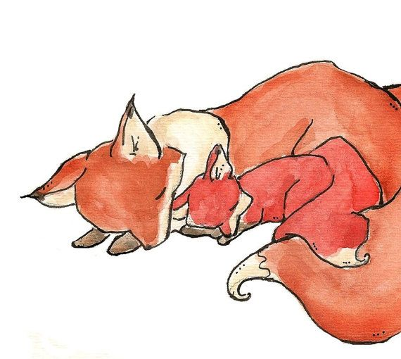 My Baby Fox. PRINT 8X10. Nursery Art Wall Decor by LoxlyHollow