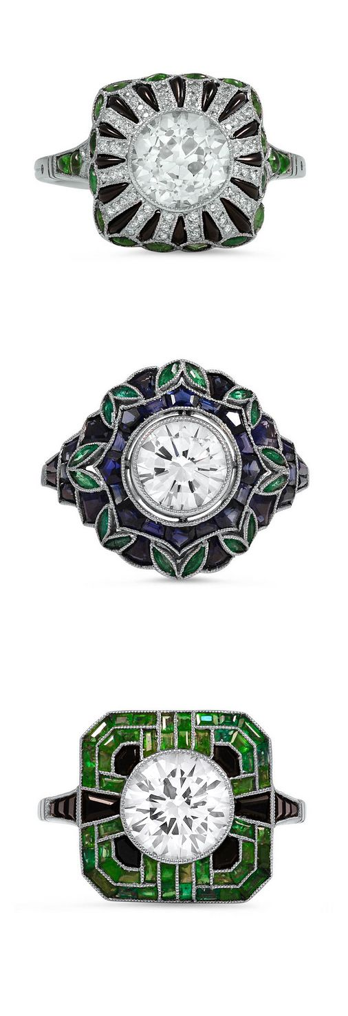 These ornate Art Deco-inspired rings showcase the true beauty of diamonds, sapphires, and emeralds. Explore our collection of vintage rings now!