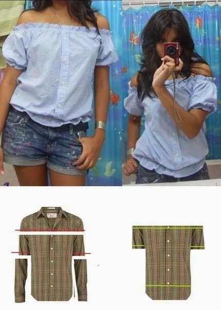Eu Amo Artesanato: Blusinha feita de camisa
