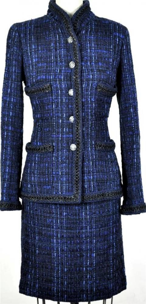 : Exquisite Rare Chanel 10a Classic Navy Tweed Suit Jacket Skirt | MALLERIES