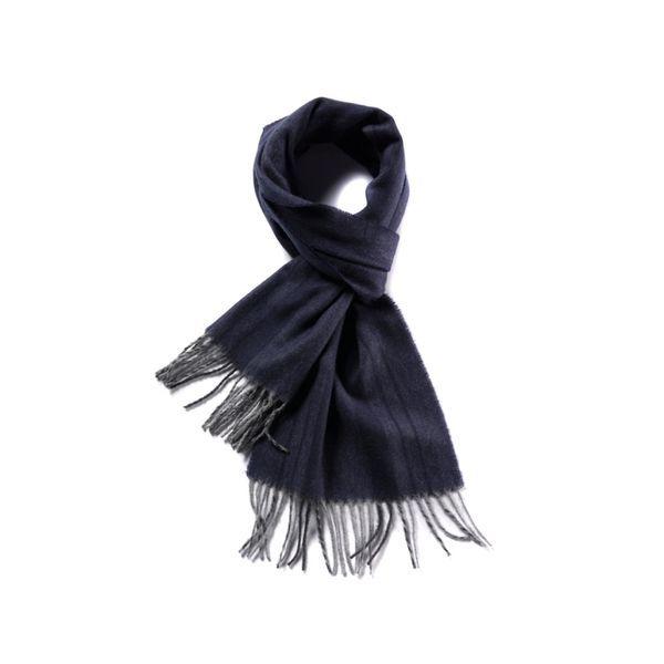 Strickschal mit Fransen blau schwarz