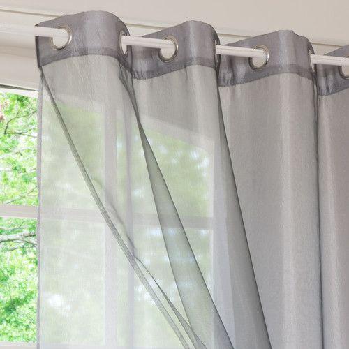 cortina doble con ojales de tela gris x cm organza