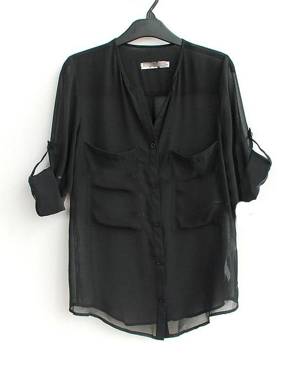 Black V Neck Roll Long Sleeve Two Pockets Chiffon Blouse