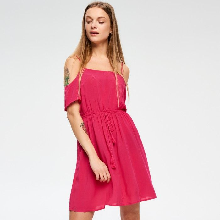 Zwiewna sukienka cold shoulder - SUKIENKI - KOLEKCJA - DZIEWCZYNA