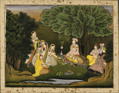 A female ascetic with devotees. Farrukhabad, c. 1770 (British Library J.66, 5)