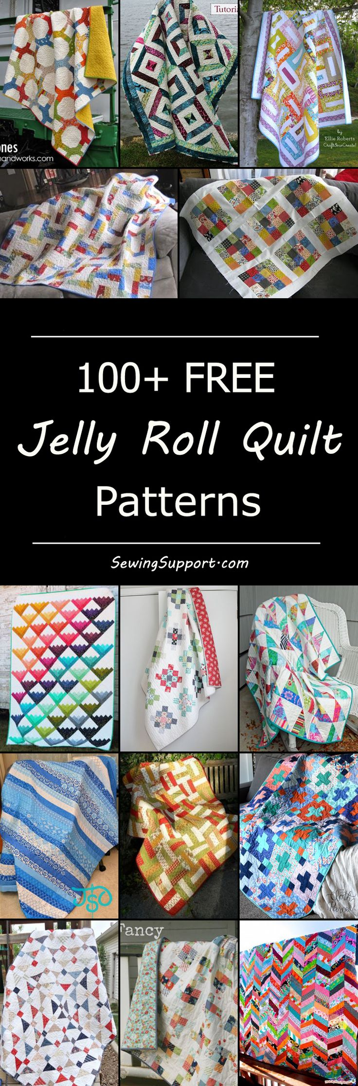 Over 100 free jelly roll quilt patterns & tutorials. Quilting ideas and projects using fabric strips. Many simple and easy designs.