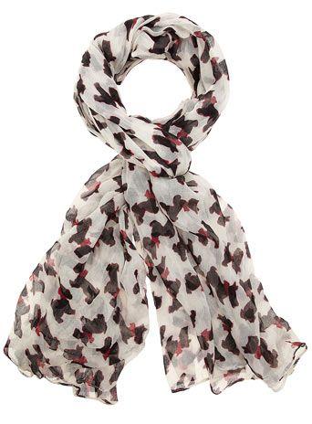 Cream scotty dog scarf  at Dorothy Perkins