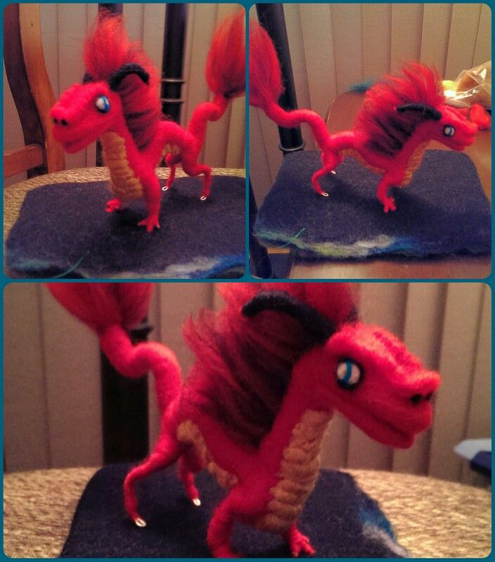 First needle felted  dragon