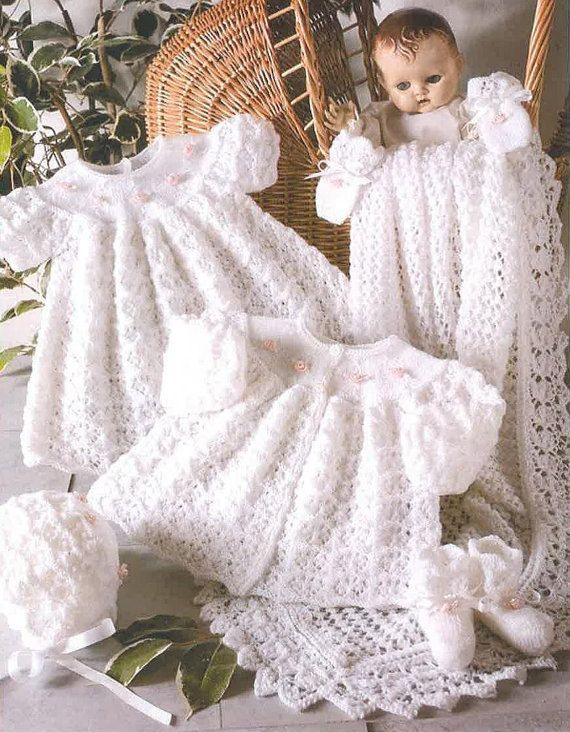 Beautiful knitting pattern for babys layette comprising of long dress (christening), matinee coat, bonnet, mittens, booties and gorgeous shawl. Knitted