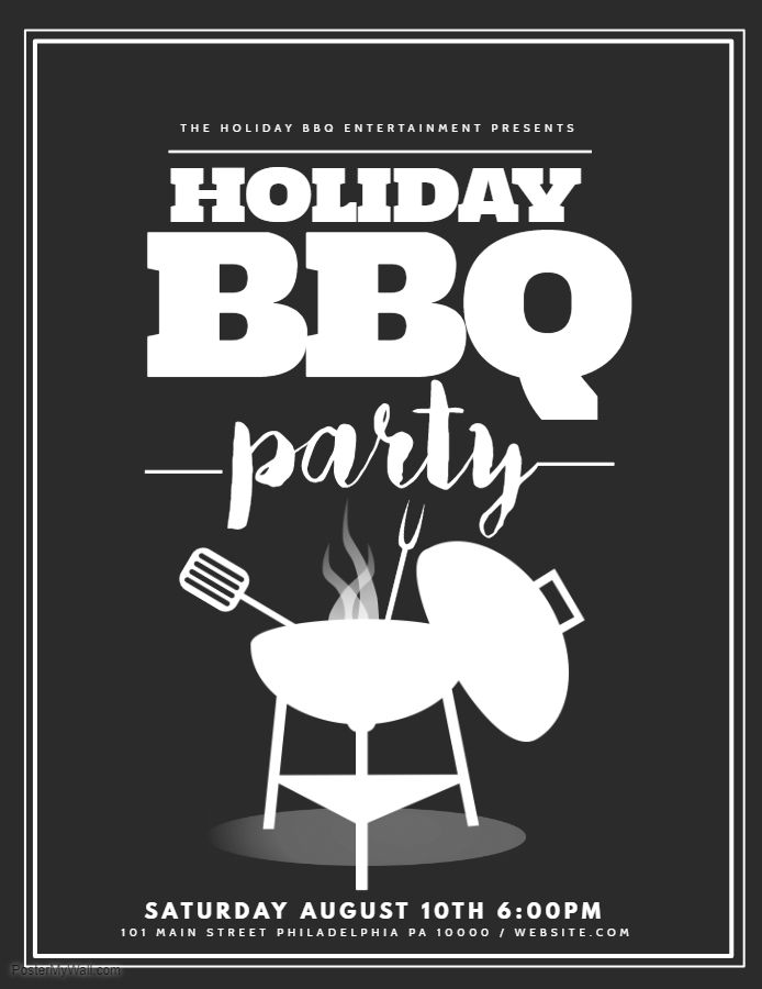 black and white holiday bbq party flyer template