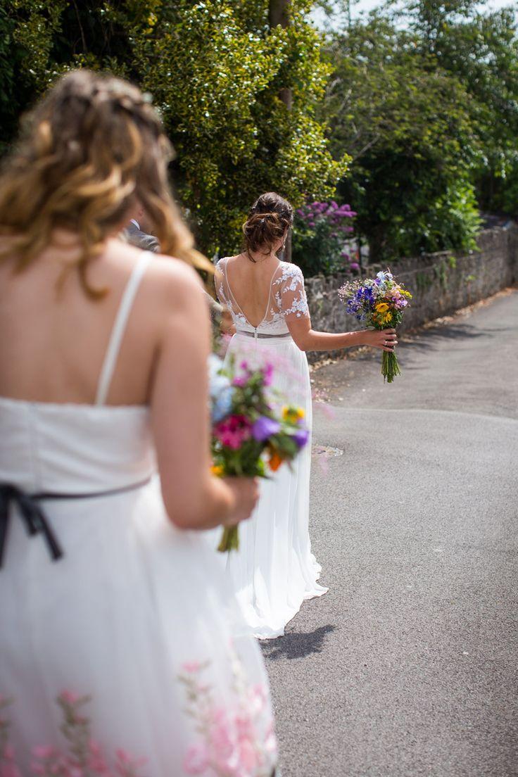 Gemena by Enzoani Dress Gown Bride Bridal Colourful DIY Village Hall Wedding http://samanthagilrainephotography.com/