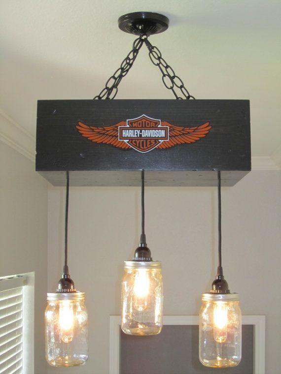 Harley Davidson Mason Jar Chandelier by OutoftheWdworkDesign, $205.00