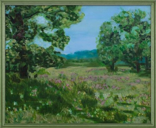 In the glade. Summer landscape painting, original composition.    Oil on canvas, 80×60 cm. The painting dates from 2012.
