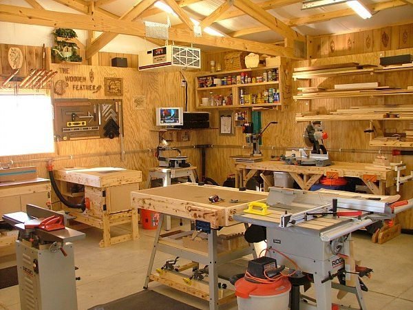 457 best images about workshops work spaces and for Small basement workshop ideas
