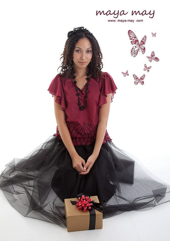 **SOLD OUT** Floating Butterfly Top by MayaMayCollection on Etsy, |Price: AUD185 /Fabric: 100% Cotton voile |Color: Maroon with black embroidery. |Fully lined |Hand wash, Dry Clean Only./Photography by: Ernita Siregar. /Graphic Design by: Cliff Flo./Model: Soraya Bustami