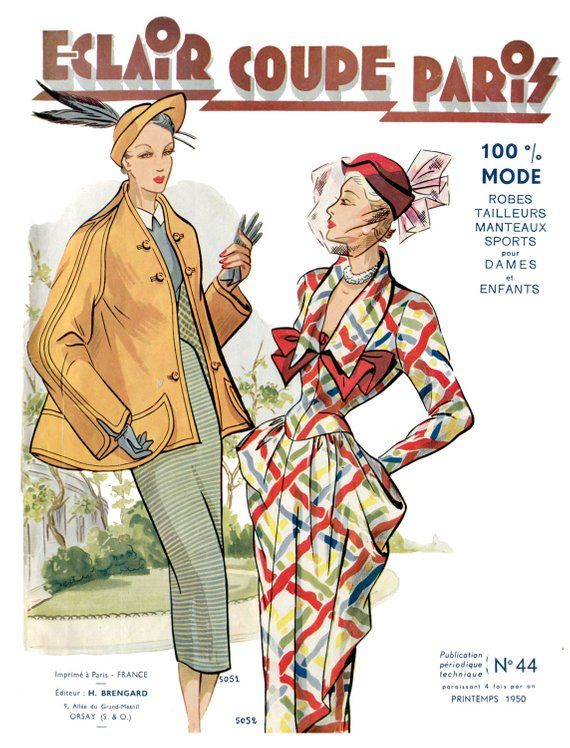 1950 Spring French Fashion Pattern Book Eclair Coupe Paris in 2018    Style    Pattern fashion, Pattern, Couture 36033f1f7f4