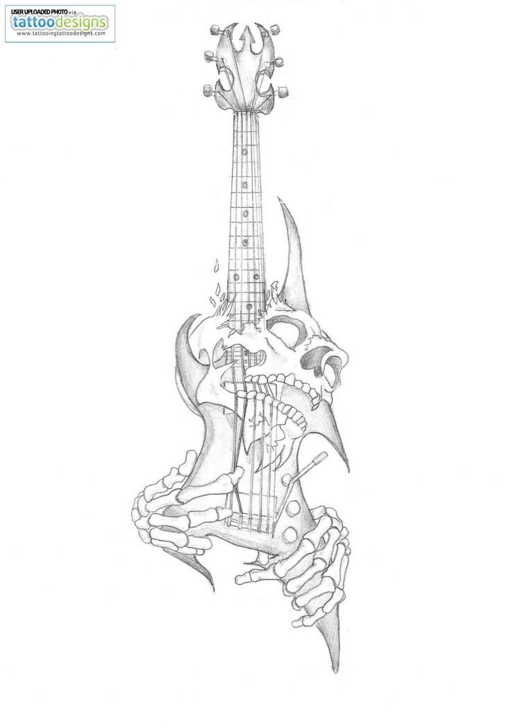 higher resolution skull guitar tattoo by gaaradeviant