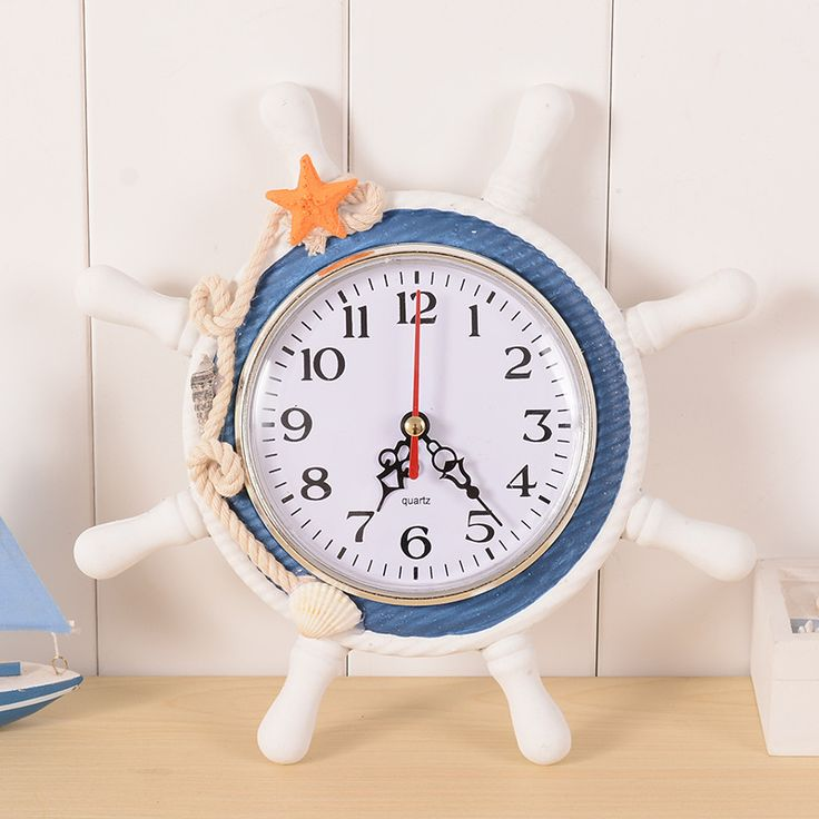 Creative home decoration High Quality Sailor Rudder Grabber Digital Alarm Clock Mediterranean Sea Wooden Wall Clock gift For kid