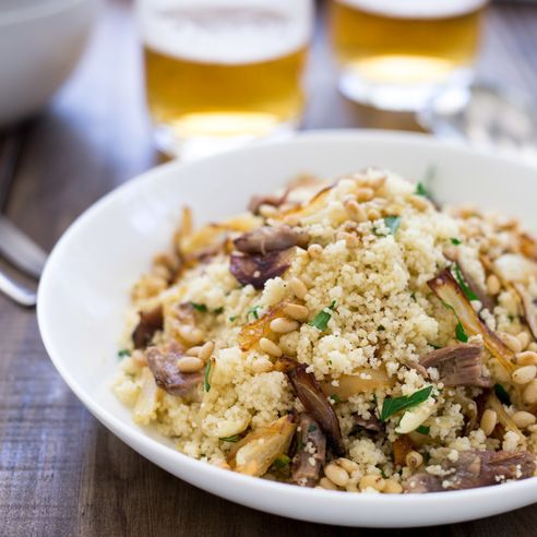 Lamb Couscous With Fried Onions And Parsley - Warm lamb, sweet onions, crunchy buttery pine nuts and fresh parsley all stirred through soft fluffy couscous. This meal is comforting but in no way boring!