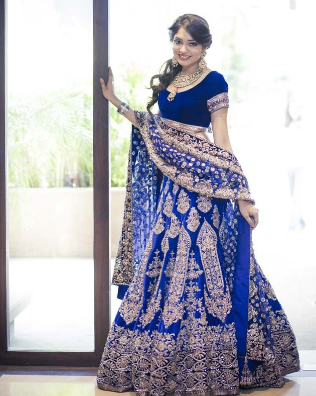 Royal blue Indian wedding dress. This colour is in these days.