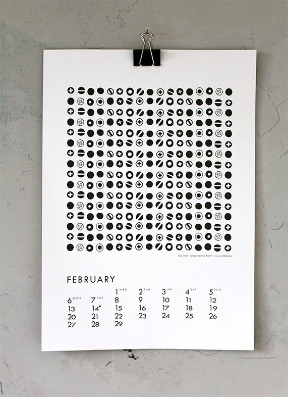 """Organized by Evald"" by Ossi Laine, for February in calendar 12."