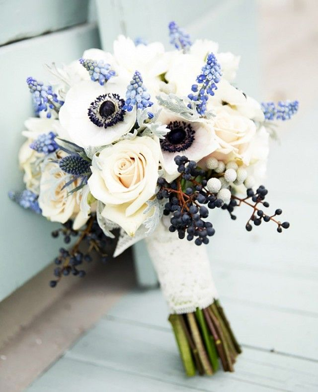 Want to incorporate the something blue into your bouquet? Do so by using…