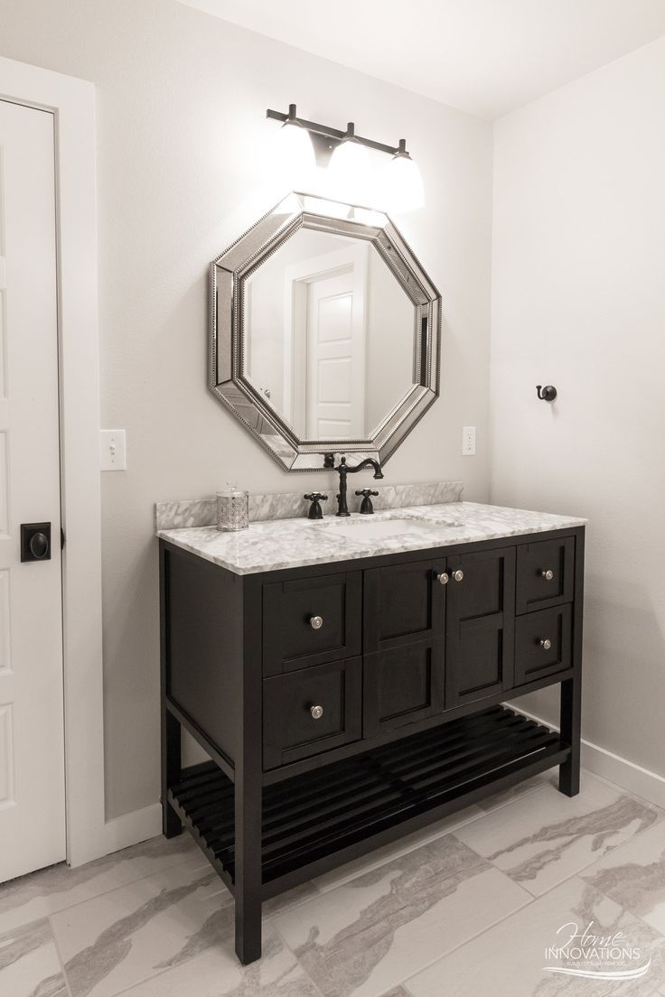 custom home builder tulsa ok rustic glam bathroom with marble top black vanity and