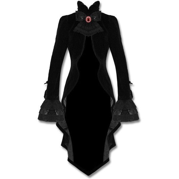 Punk Rave Gothic Jacket Tailcoat Cloak Black Velvet Vampire Knight... ❤ liked on Polyvore featuring outerwear, jackets, gothic jackets, lace jacket, cloak jacket, goth jacket and velvet gothic jacket
