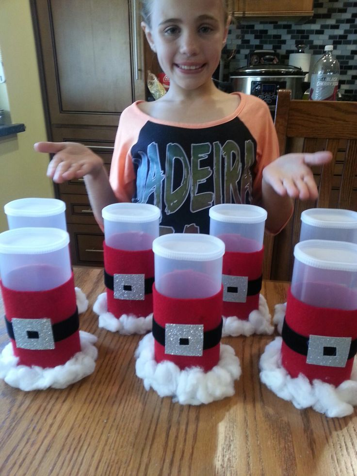 Christmas craft with crystal light containers. Will fill with candy. Nice project with granddaughter
