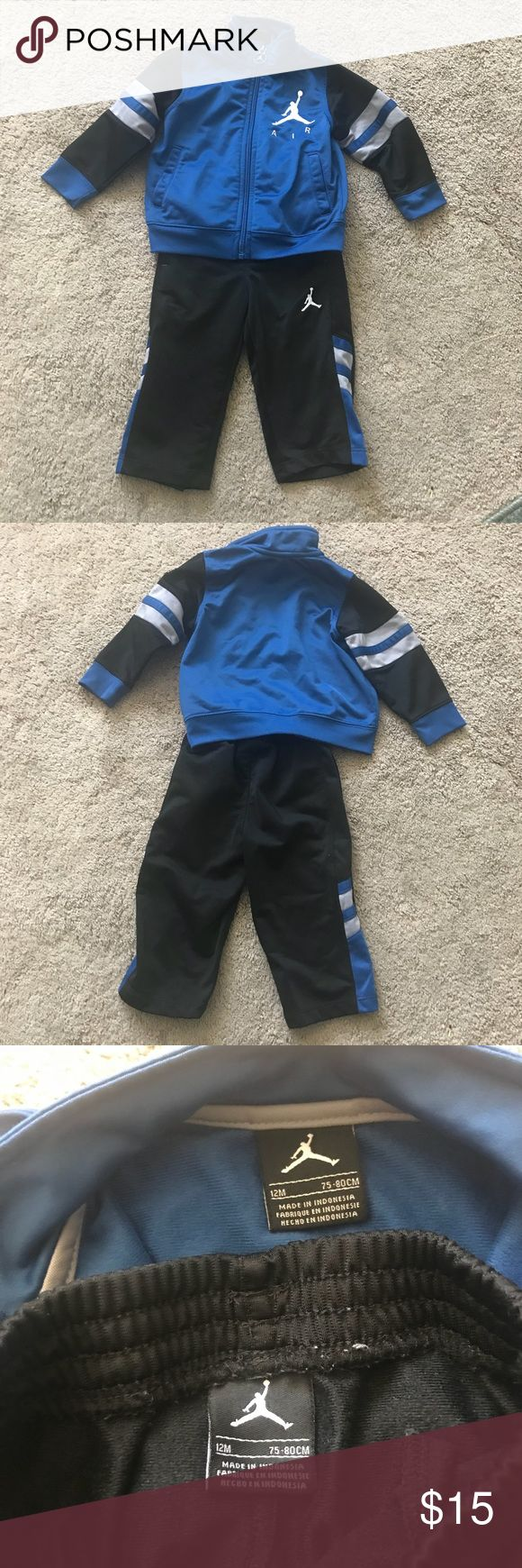 Air Jordan sweat suit Air Jordan sweat suit - size 12 months, gentally worn with no stains or holes. No pets, no smoking home. Growing kids. Air Jordan Matching Sets