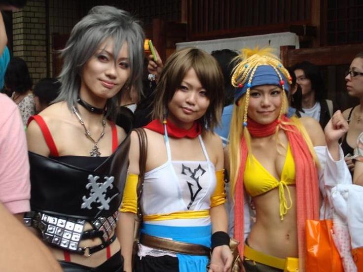 Paine, Yuna, and Riku from Final Fantasy X-2 at the World Cosplay Summit Parade in Nagoya