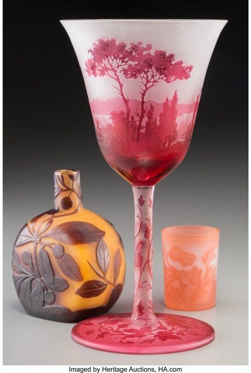 Lot: 79258: Three French Cameo and Overlay Glass Articles Ci, Lot Number: 79258, Starting Bid: $110, Auctioneer: Heritage Auctions, Auction: 20th Cent Dec. Art,Tiffany,Lalique,Art Glass , Date: November 14th, 2017 EST