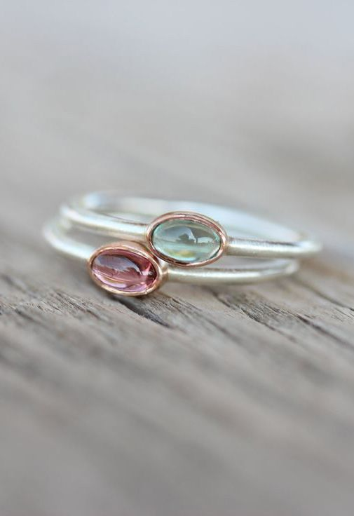 Tiny Tourmaline Rose Gold Silver Ring Pink Blue-Green Watermelon