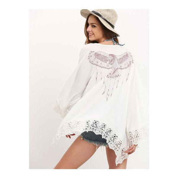 SheIn(sheinside) Beige Embroidered Lace Patchwork Kimono ($21) ❤ liked on Polyvore featuring intimates, robes, beige, summer robe, embroidered kimono, beach kimono, embroidered robes and kimono robe