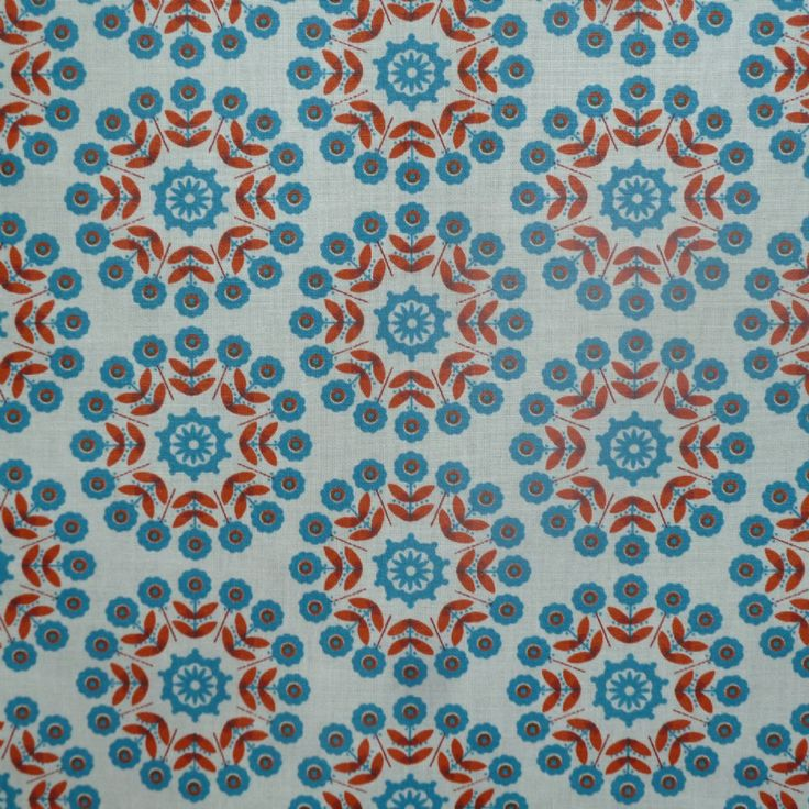 Lisbonne Extra Wide Acrylic Oilcloth In Orange The Motif Is Almost 7 Cms To  Give You