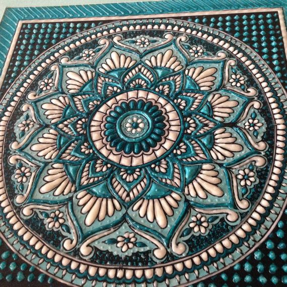 Mandala artwork in turquoise blue, sculpture and ceramics, unique ceramic…