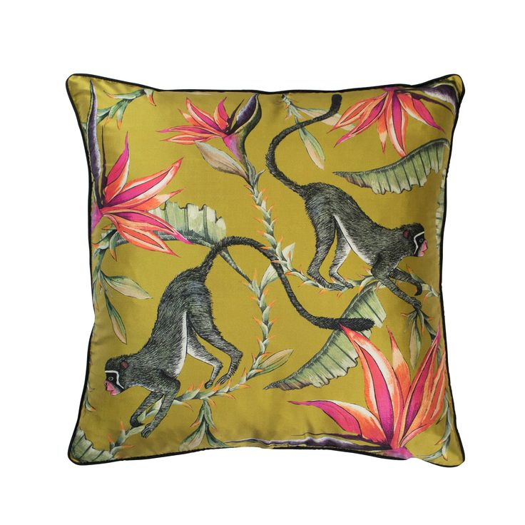Monkey Paradise 100% silk african cushion in Swamp