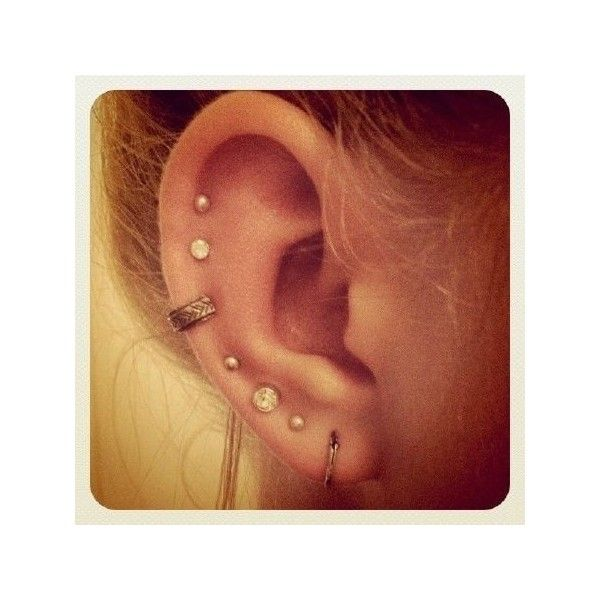 Multiple ear piercings ❤ liked on Polyvore featuring jewelry, earrings, piercings, tattoo and tattoo jewelry