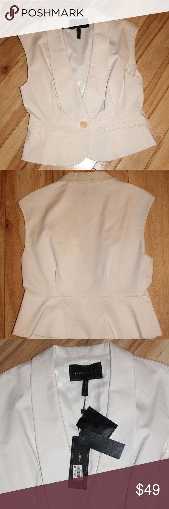 NWT! BCBGMaxAzria Tuxedo Style Vest New Chic BCBG Tuxedo Style Vest! Great w/ dress pants or even a skirt.   97% Cotton 3% Spandex   Extra Button Included  Dry Clean Only BCBGMaxAzria Jackets & Coats Vests