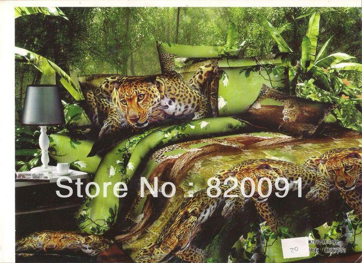 Hot felle luipaard beddengoed jungle voor mannen dekbedovertrek kussenslopen laken bed in een zak 4 of 5