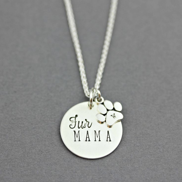 PERSONALIZED FUR MAMA INITIAL Paw Print Sterling Silver Hand Stamped Necklace by www.TinyEpicMoments.com