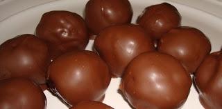 CHOCOLATE COVERED RICE KRISPIE PEANUT BUTTER BALLS -