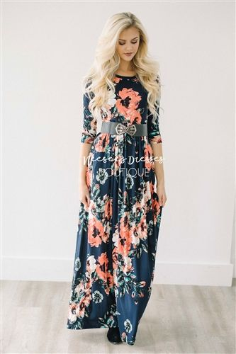 WHERE THIS DRESS IS REALLY FROM!!! Authentic and not a knock off! Navy Watercolor Floral Maxi Dress