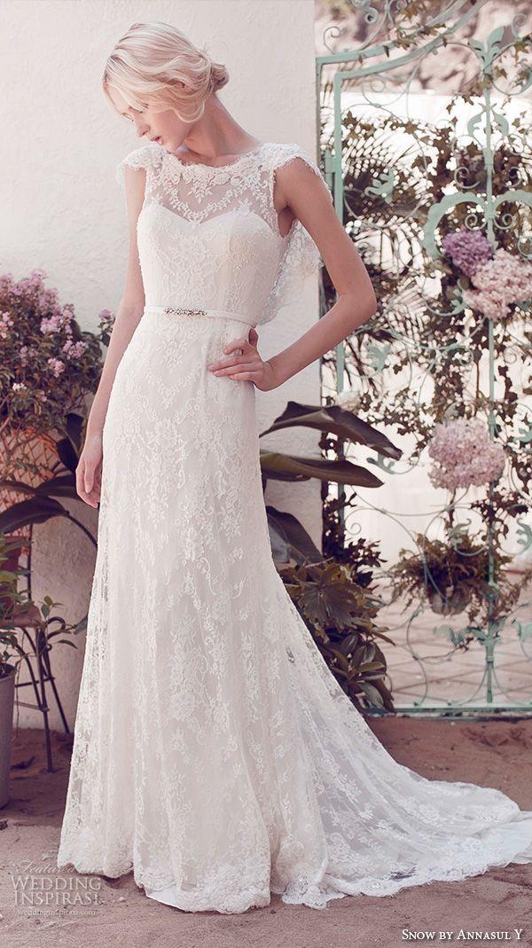 snow by annasul y 2016 bridal gowns cap sleeves illusion bateau sweetheart neckline full embellishment lace elegant sheath wedding dress open back sweep train (sa2063b) mv