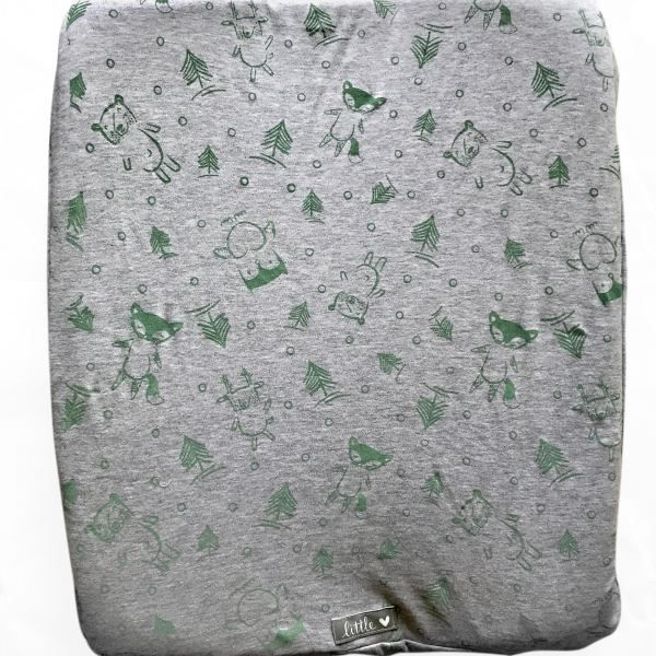 Sage and Grey Forest Friends | 100% cotton knit fabric | Fits standard size change mat size of 56 x 46 x 12 cm (length x width x height)